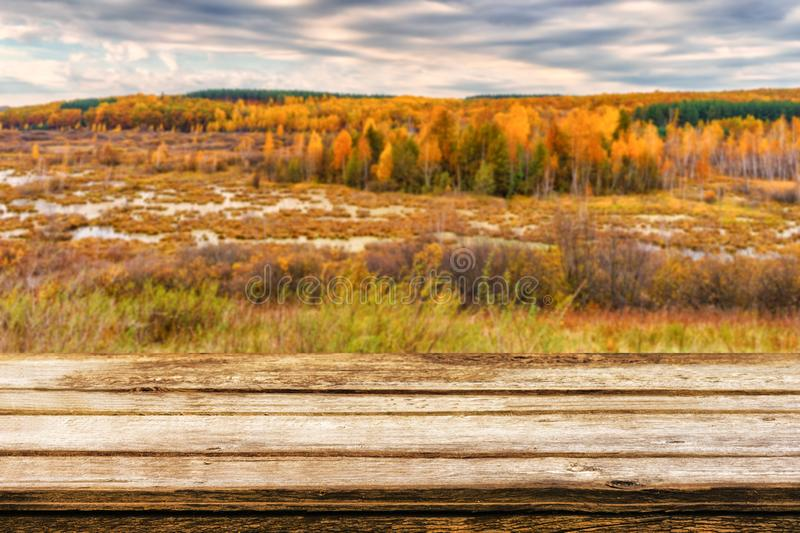 Empty wooden table with blurred picturesque autumn landscape of view from the hill to the lowland with forest and swamps. Mock up royalty free stock image