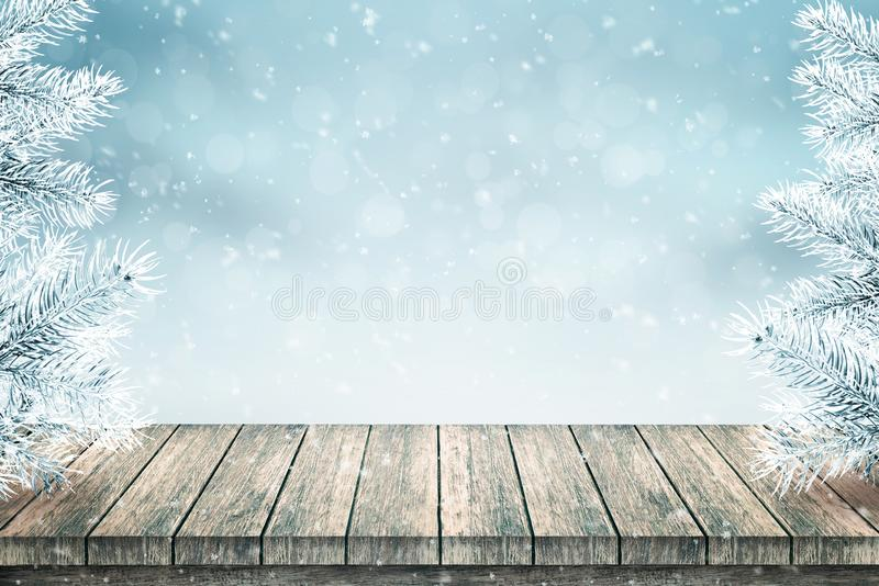 Empty wooden table and Christmas fir trees covered with snow vector illustration