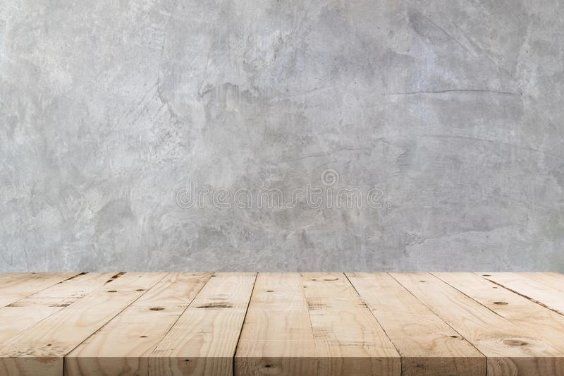 Empty wooden table and concrete wall texture and background with copy space, display montage for product stock photos