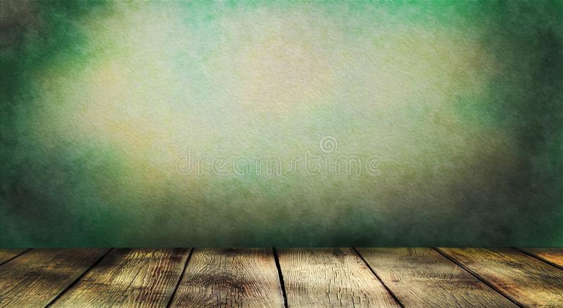 Empty wooden table on dark green colored wall background. Empty wooden table on dark colored wall background. Mock up design for presentation products stock photography