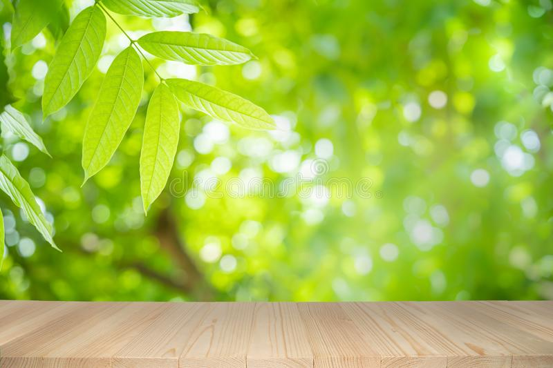 Empty wooden table on green nature background with beauty bokeh under sunlight royalty free stock images