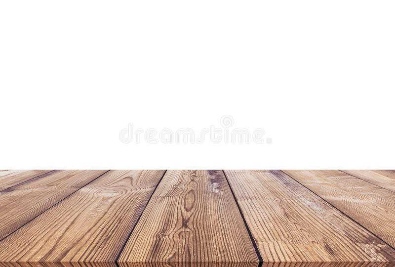 Wooden table isolated on white background stock photography