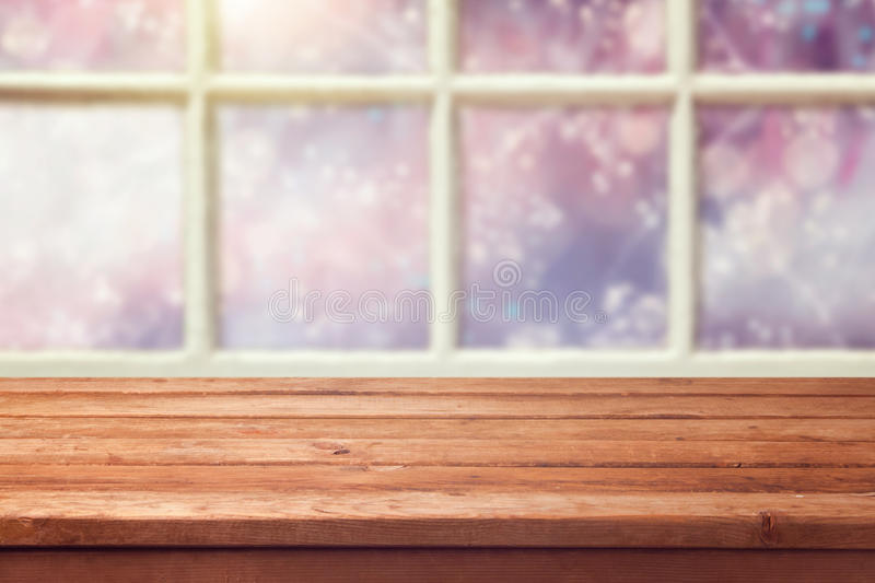 Download Empty Wooden Table Over Window With Winter Background Stock Image - Image: 46571893