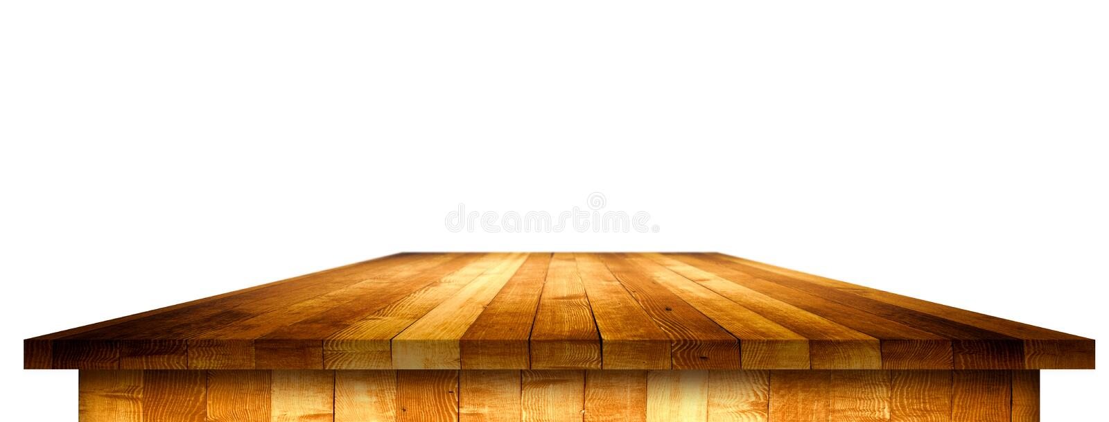 Empty wooden table perspective with clipping mask. For product placement or montage with focus to table. Wooden board surface royalty free stock images