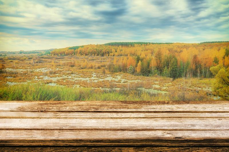 Empty wooden table with picturesque autumn landscape of view from the hill to the lowland with forest and swamps. Mock up for royalty free stock images