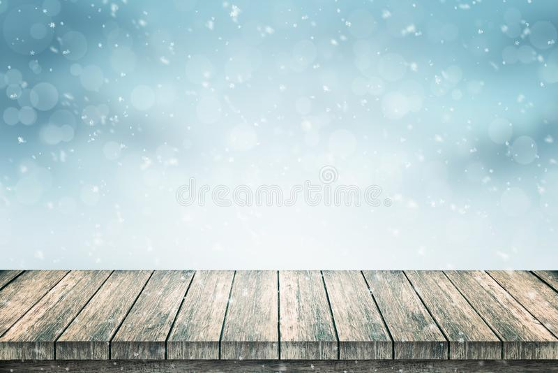 Empty wooden table and snow for product promotion royalty free illustration