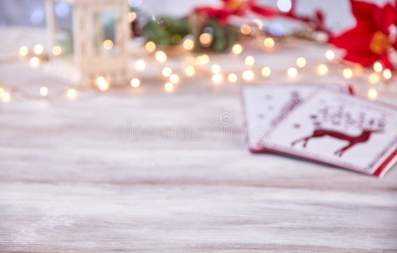Empty table top with blur christmas lights background royalty free stock image