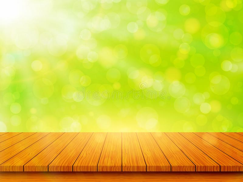Empty wooden table top on blurred abstract green background. Spring and Summer concept. Vector illustration royalty free illustration