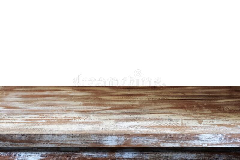 Empty wooden table top, desk isolated on white background, Vintage wood table surface for product display background, Empty wooden stock photo