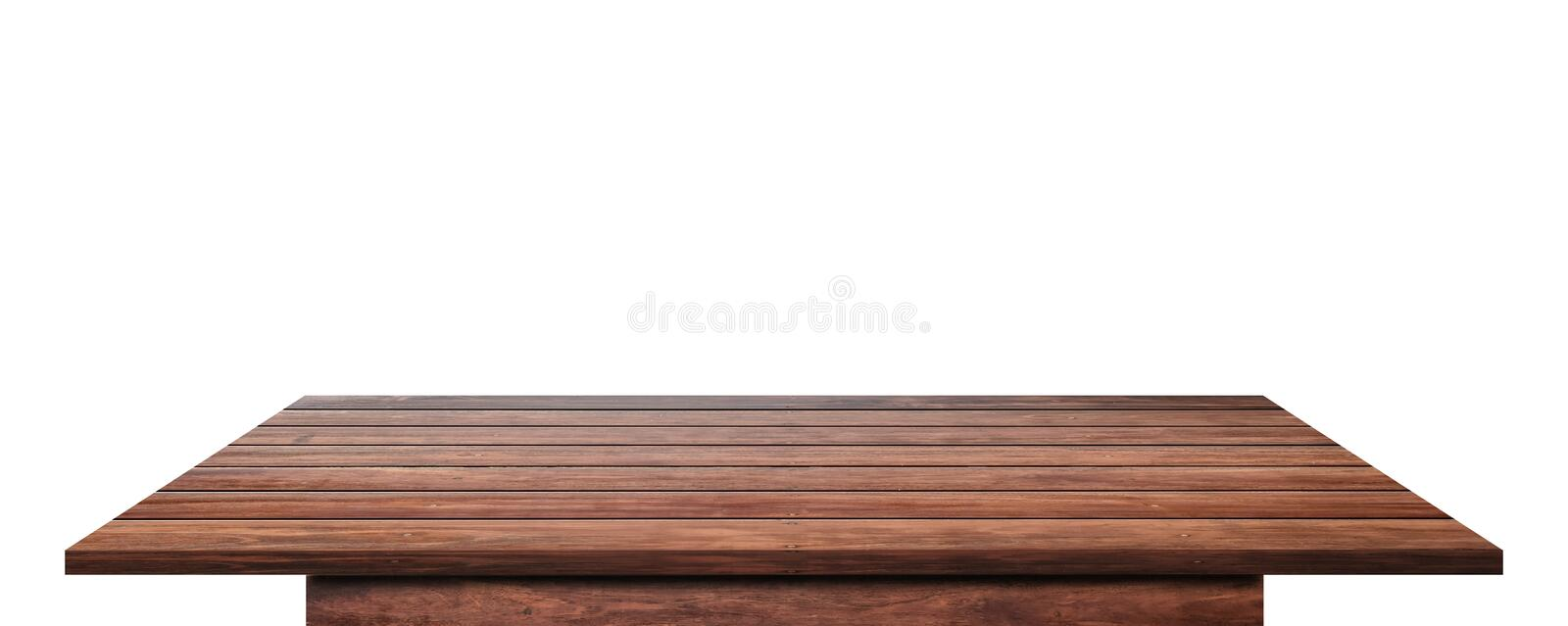 Empty wooden table top isolated on white background stock photos