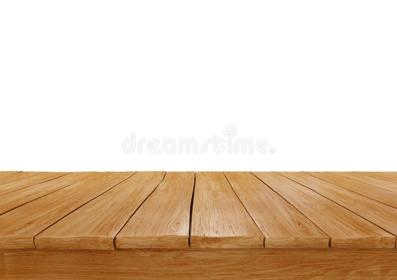 empty wooden table top isolated on white background, royalty free stock photos