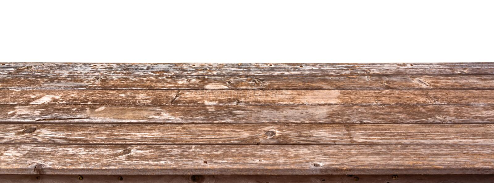 Empty wooden table top isolated on white background, ready to use for display of your products royalty free stock photography
