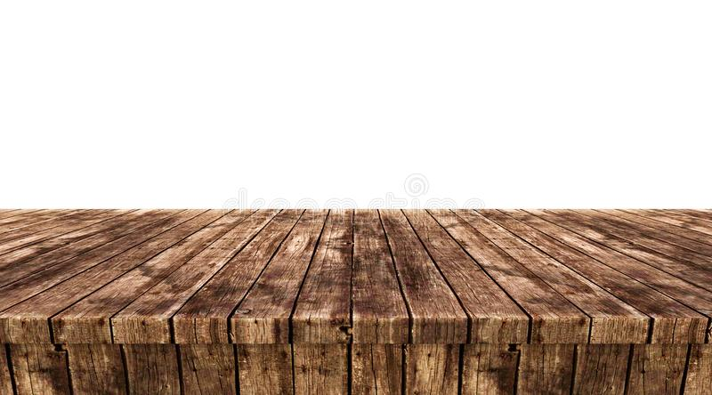 Empty wooden table top isolated on white background, stock photos