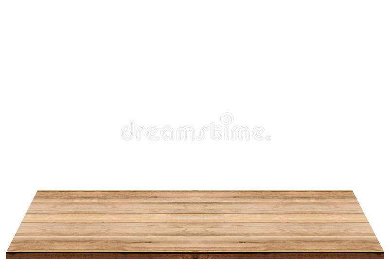 Empty wooden table top on isolated white background stock photo