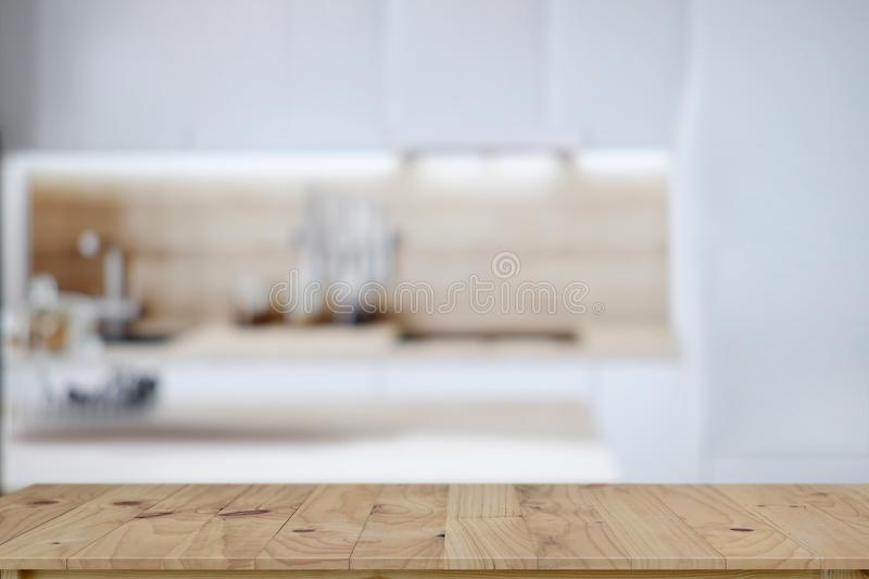 Empty wooden table top and kitchen background royalty free stock photos