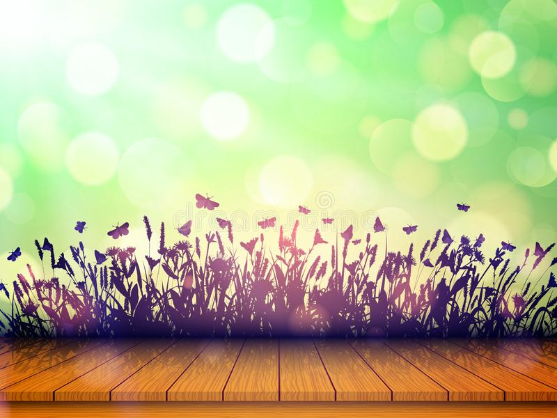 Empty wooden table top with wildflowers and butterflies on blurred background with bokeh. Vector illustration vector illustration