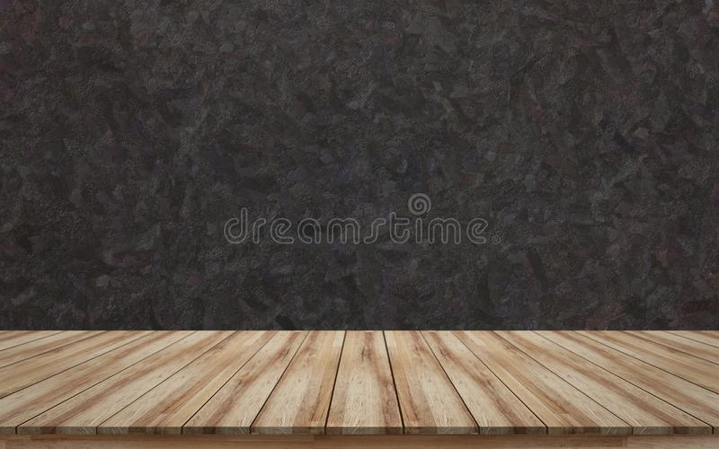 Empty wooden tabletop with black rough background texture for mock up or montage products display royalty free stock image