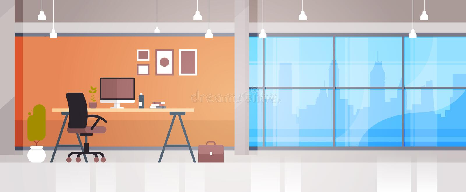 Empty Workplace Office Desk With Desktop Computer Workspace Interior Concept. Flat Vector Illustration stock illustration