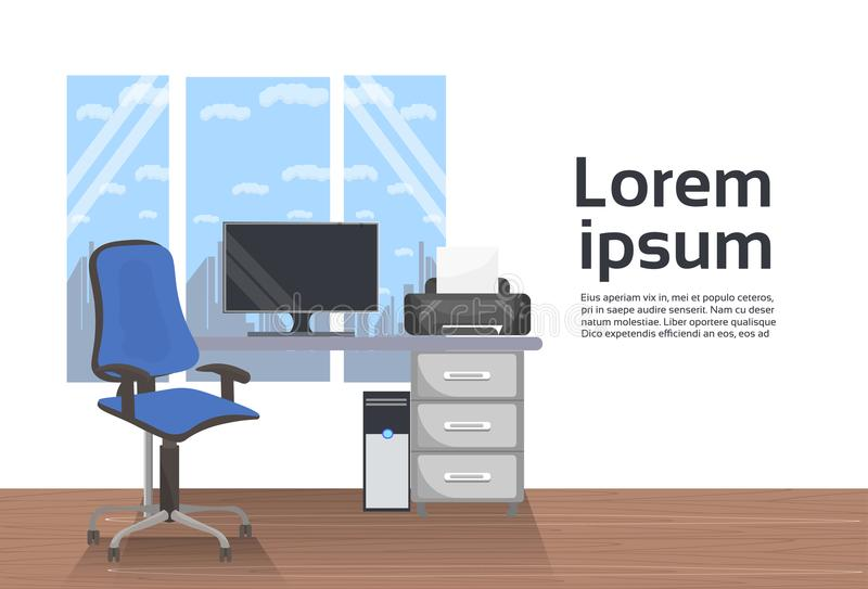 Empty Workplace Office Interior Desk With Computer And Chair Over Window Background. Flat Vector Illustration royalty free illustration
