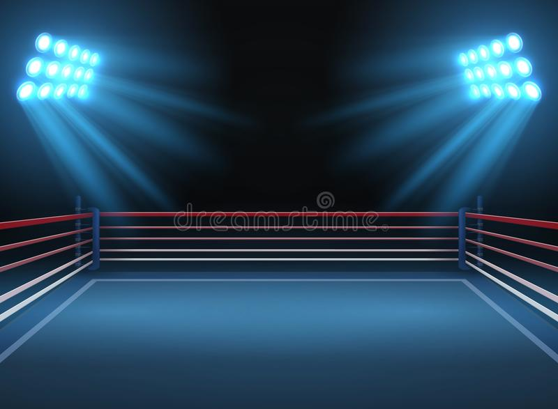 Empty wrestling sport arena. Boxing ring dramatic sports vector background. Sport competition ring for wrestling and boxing arena illustration stock illustration