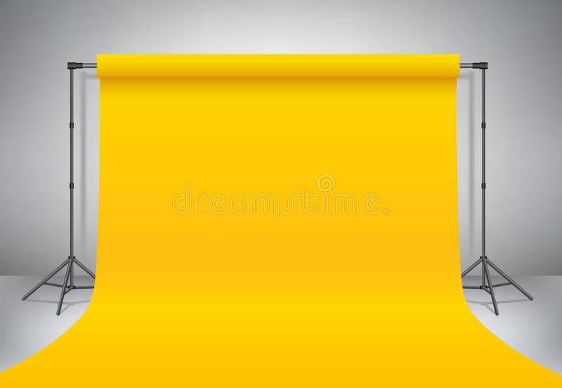 Empty yellow photo studio. Realistic vector template mock up. Backdrop stand tripods with yellow paper backdrop. Empty photo studio. Realistic template mock up stock illustration
