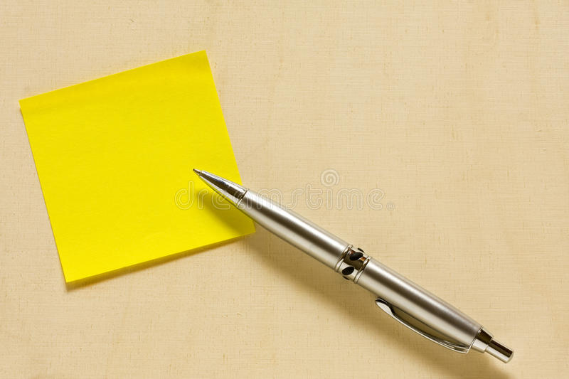 Empty Yellow Post it with Ballpoint stock image