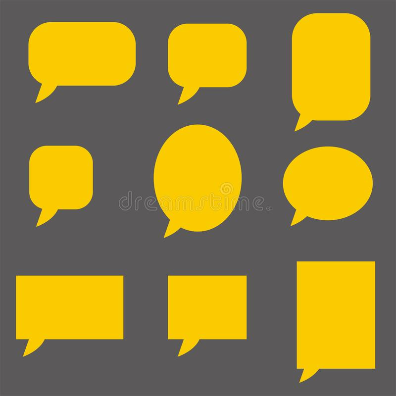 Empty yellow speech bubbles on dark background. flat style. Speech bubble icon for your web site design, logo, app, UI. collection vector illustration