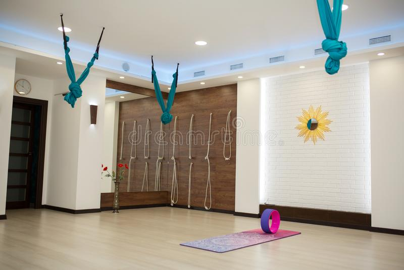 Empty yoga and fitness gym. Sport playground interrior stock photography
