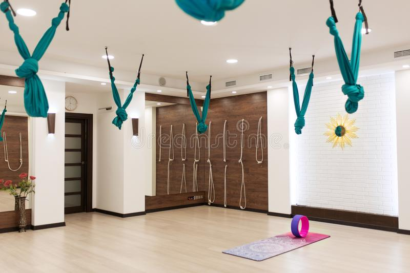 Empty yoga and fitness gym. Sport playground interrior.  stock photo