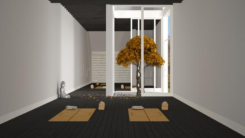 Empty yoga studio interior design, minimal open space with mats and accessories, zen garden, autumn tree, falling leaves, ready. For yoga practice, marble stock illustration