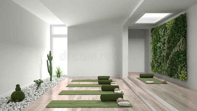 Empty Yoga Studio Mats Pillows And Accessories Meditation Room On A Foreground Wall Interior Design Architecture Idea Concept Stock Photo Image Of Scandinavian Simple 163169360