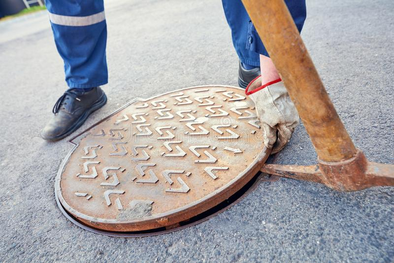 Emptying septic tank, cleaning the sewers. stock image