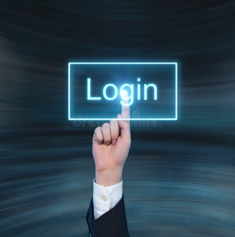 Empujar el botón virtual de la compra manualmente fotos de archivo libres de regalías