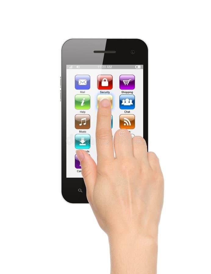 Empujar el icono manualmente en el teléfono elegante fotografía de archivo