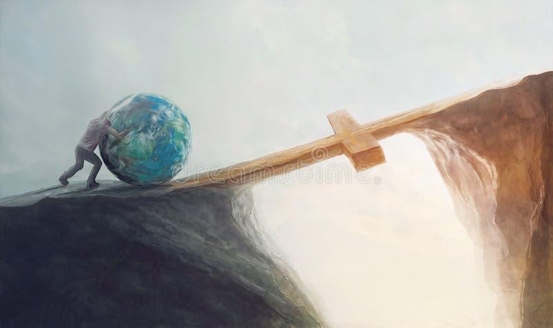 Empujar el mundo sobre la cruz stock de ilustración