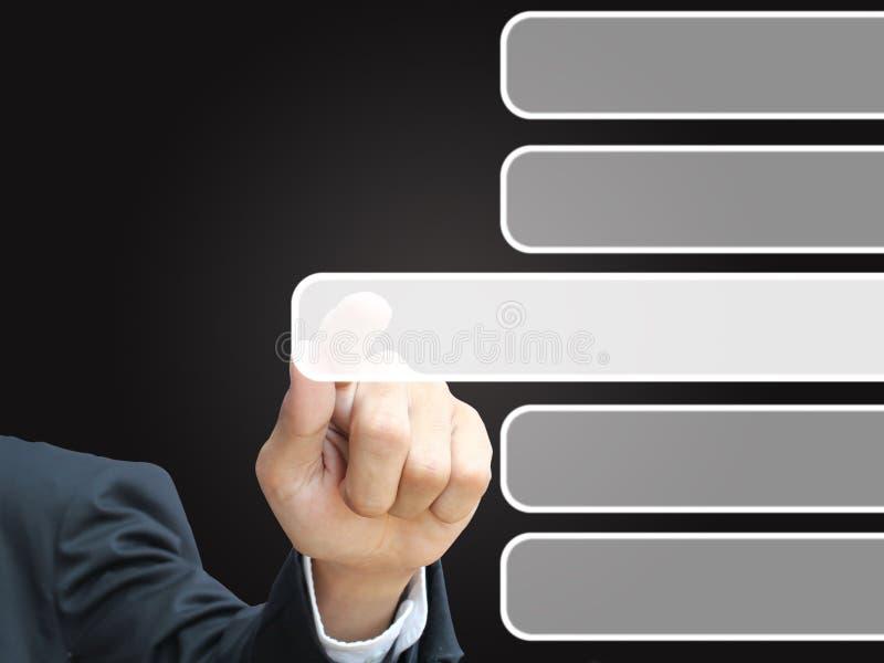 Empujar la pantalla táctil manualmente imágenes de archivo libres de regalías