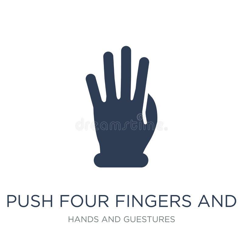 Empuje cuatro fingeres e iconos del gesto del movimiento Empuje plano de moda del vector ilustración del vector