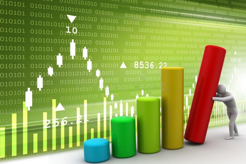 empuje del hombre 3d el gráfico de barra stock de ilustración