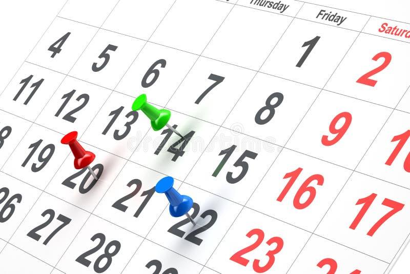 Empuje el contacto en calendario stock de ilustración