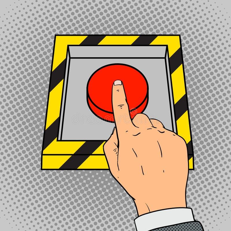 Empuje el vector del arte pop manualmente del botón rojo stock de ilustración