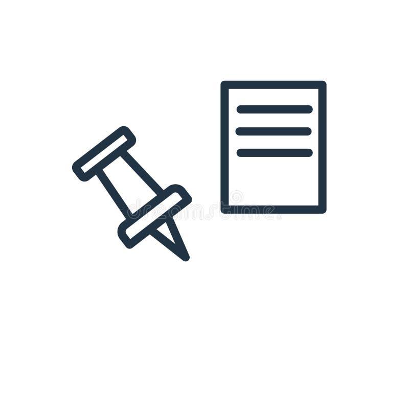 Empuje el vector del icono del perno aislado en el fondo blanco, empuje la muestra del perno libre illustration