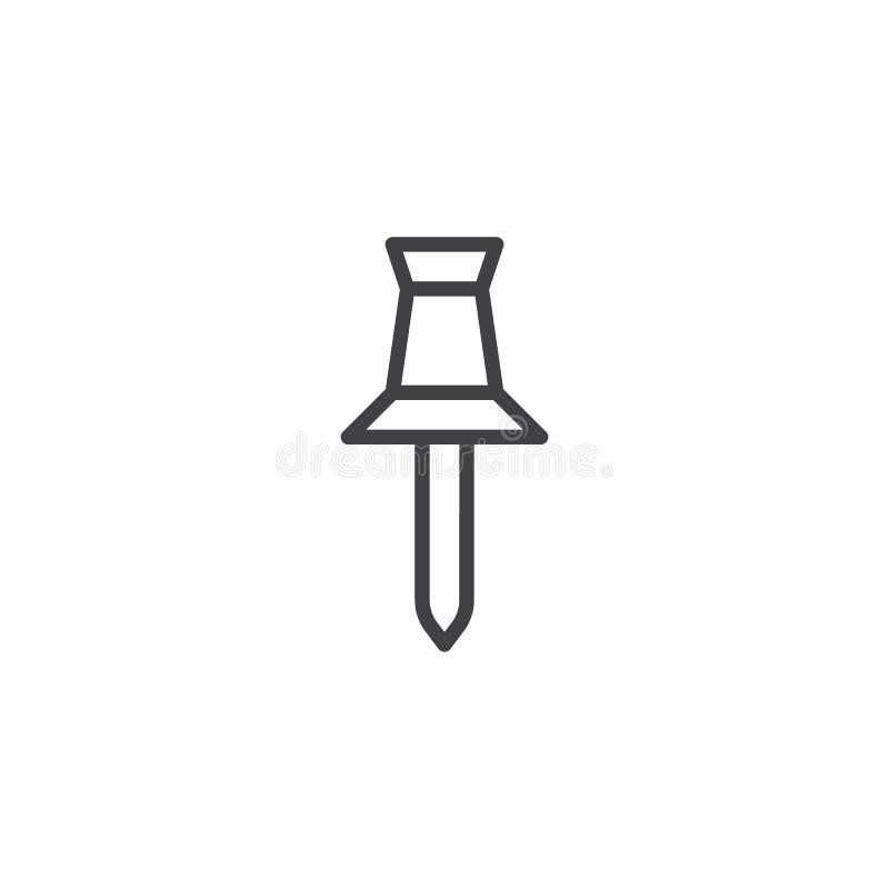 Empuje la línea icono del perno ilustración del vector