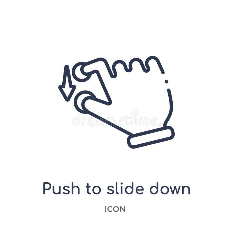 Empuje linear para deslizar abajo el icono de las manos y de la colección del esquema de los guestures Línea fina empuje para des ilustración del vector