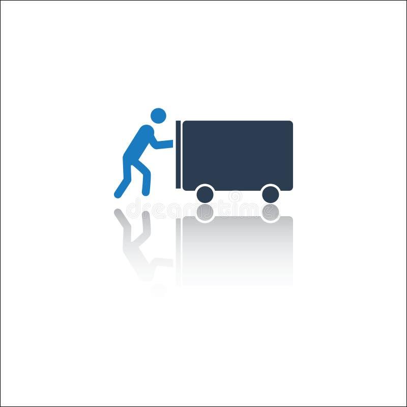Empuje los coches icono, hombre que empuja el icono ilustración del vector