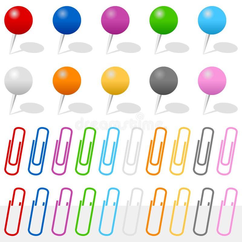 Empuje los contactos y los clips de papel fijados stock de ilustración
