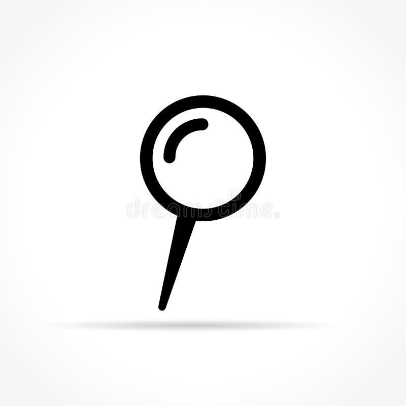 Empuje a Pin Icon en el fondo blanco stock de ilustración