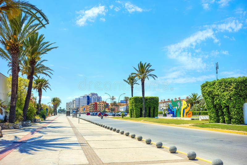 Modern street in resort town Empuriabrava . Costa Brava, Catalonia, Spain royalty free stock photography