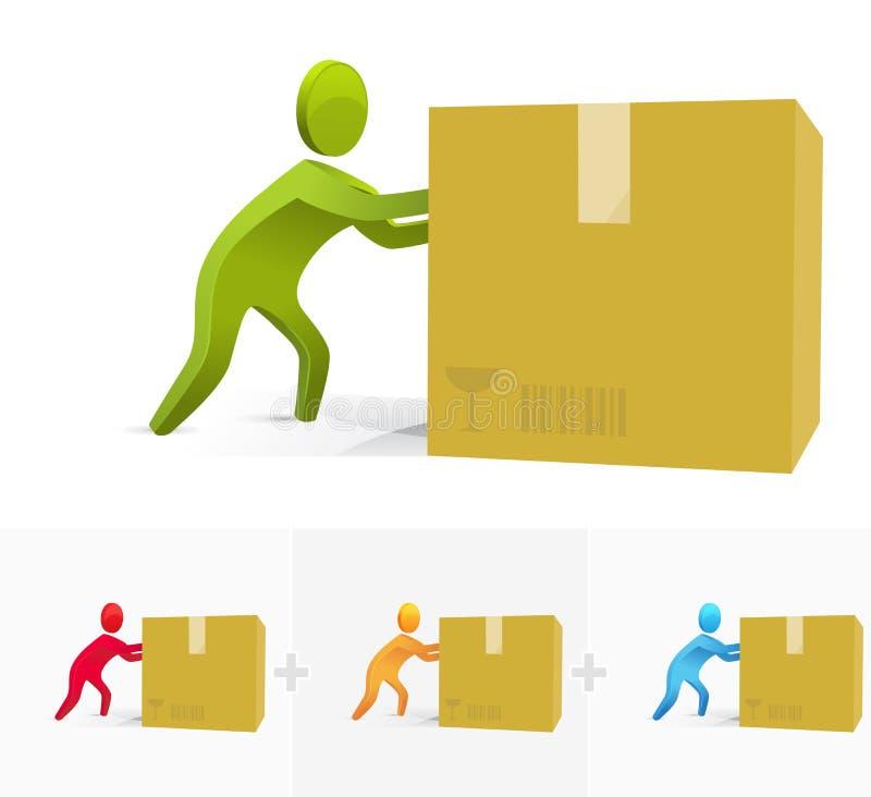 Empurrando a caixa ilustração do vetor