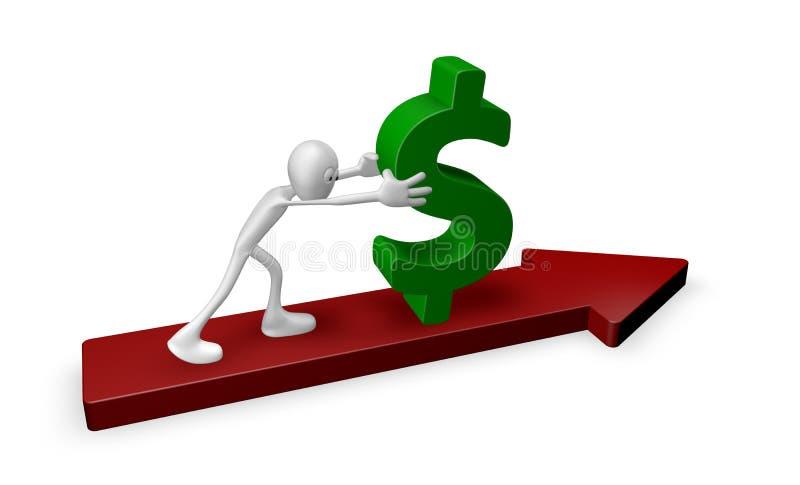 Empurrando o dólar ilustração royalty free