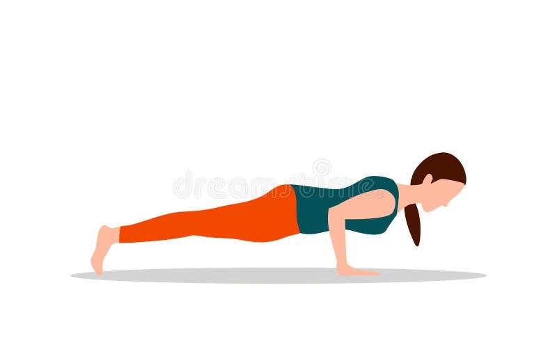 Empurre levanta exercícios e ilustração do vetor da ioga ilustração stock